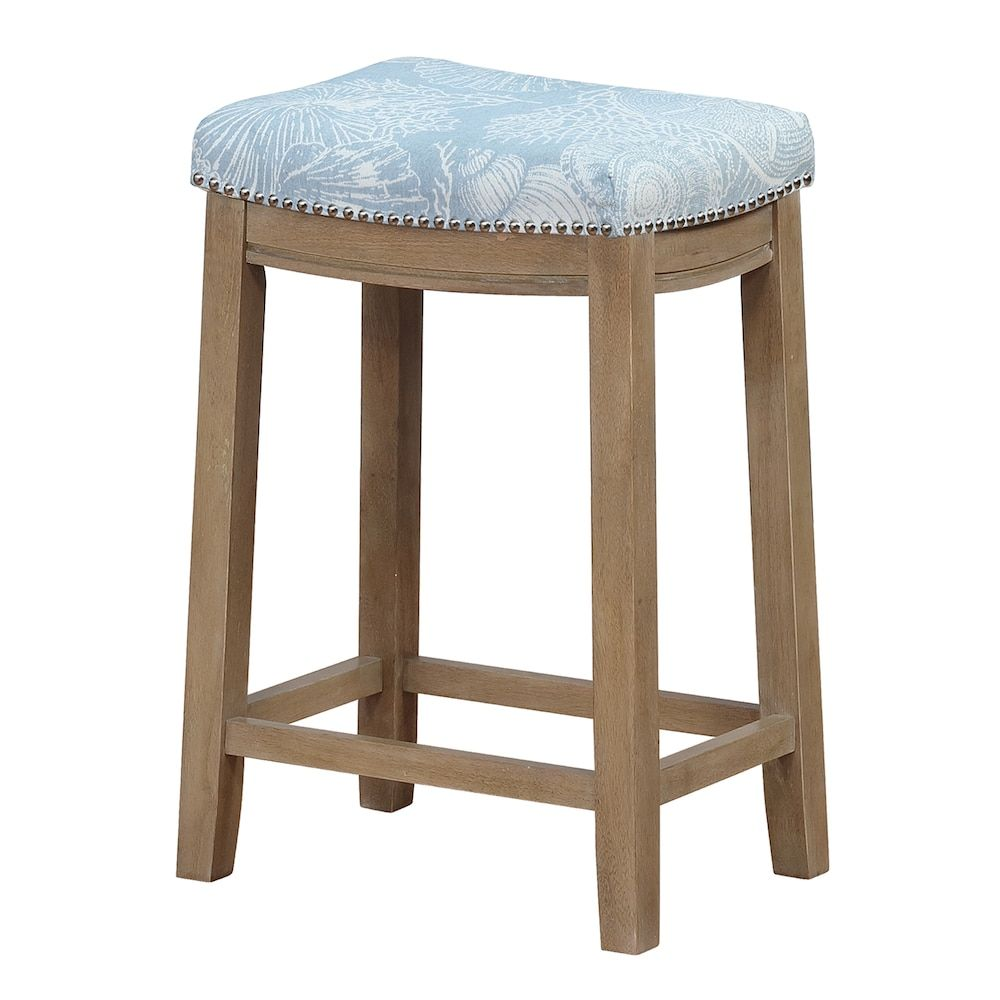 Superb Linon Allure Coastal Blue Seashell Counter Stool In 2019 Gmtry Best Dining Table And Chair Ideas Images Gmtryco