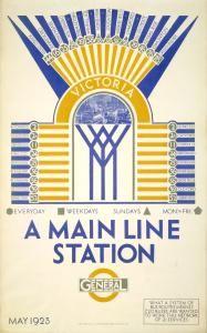 LONDON UNDERGROUND POSTCARD VICTORIA MAIN LINE STATION ~ F.C.HERRICK 1923