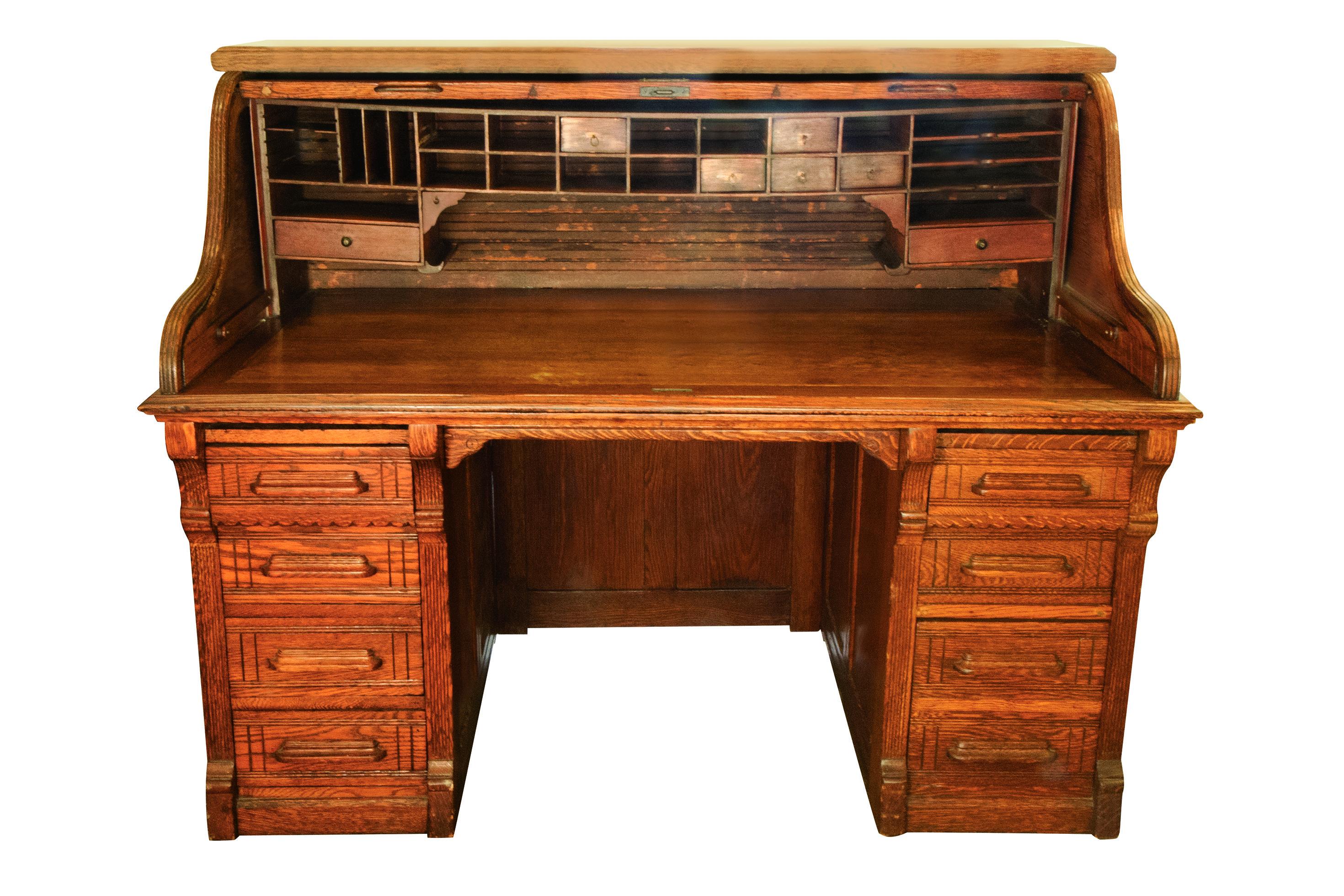 Oak Roll Top Desk On Wheels Retail Shelving Shelf Unit Roll Top Desk