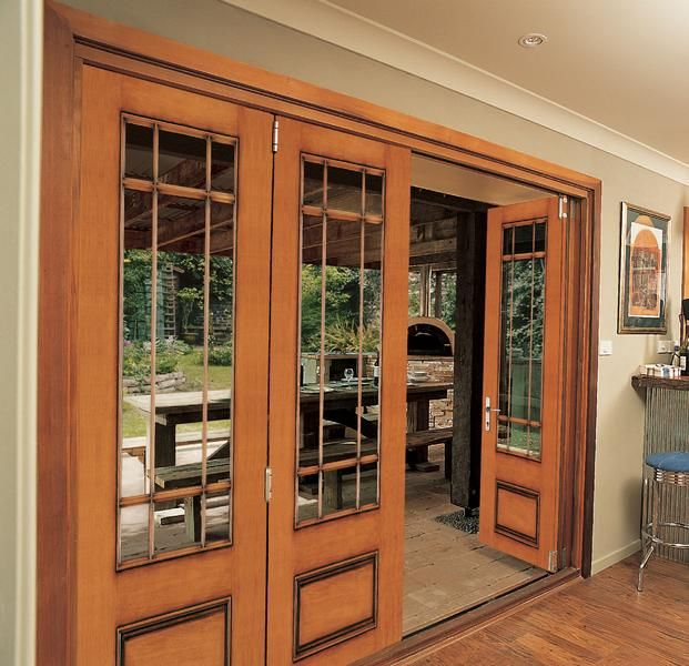 Jeld Wen Aurora Mahogany Woodgrain Fiberglass Folding Patio Door System  Antique Honey Finish