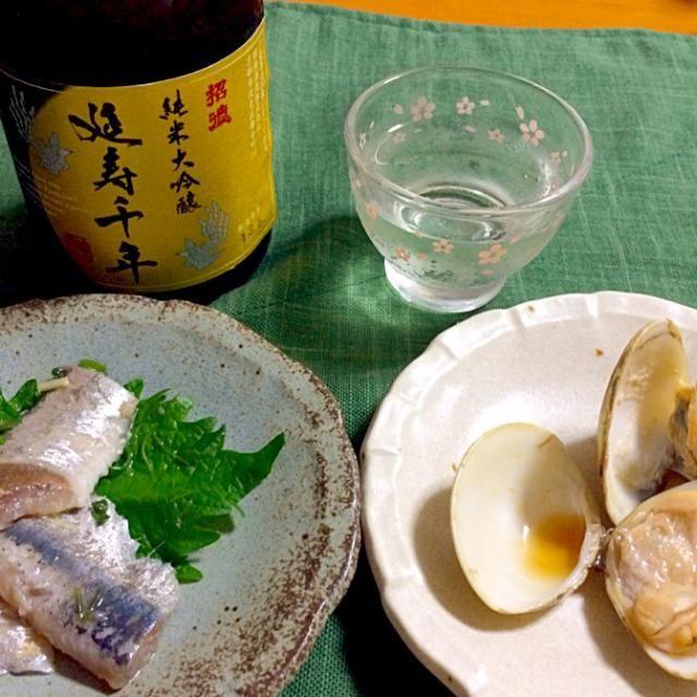 日本酒たまりません - 54件のもぐもぐ - 延寿千年    イワシの刺身、はまぐりの磯焼き風 by reirei7
