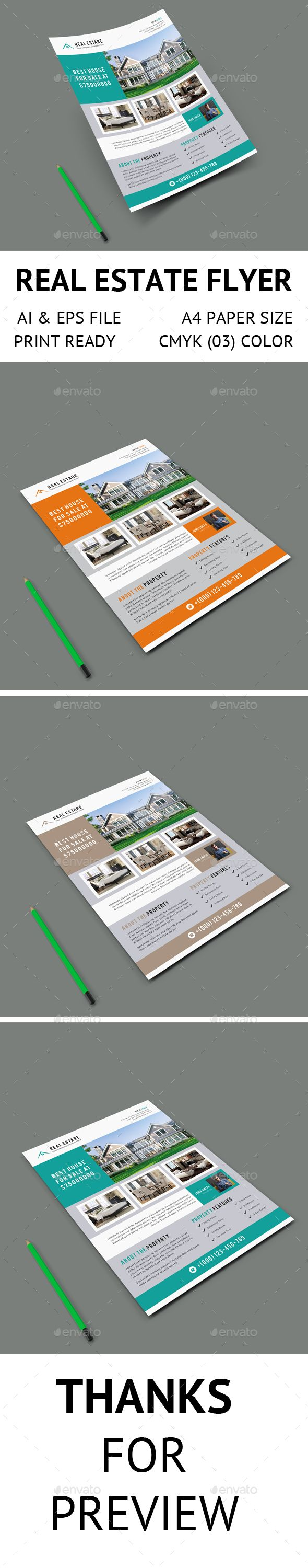 Real Estate Flyer   Real estate flyers, Flyer template and Ai ...