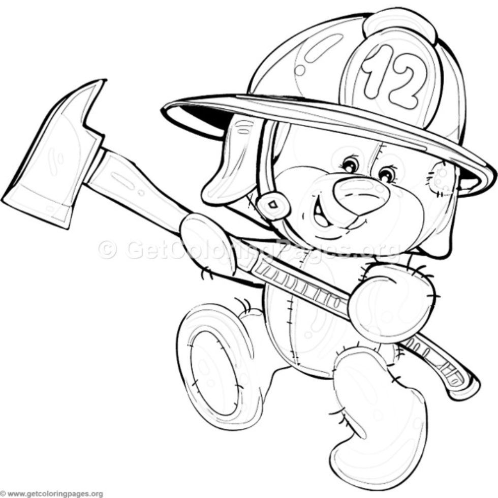 6 Teddy Bear Firefighter Coloring Pages GetColoringPages