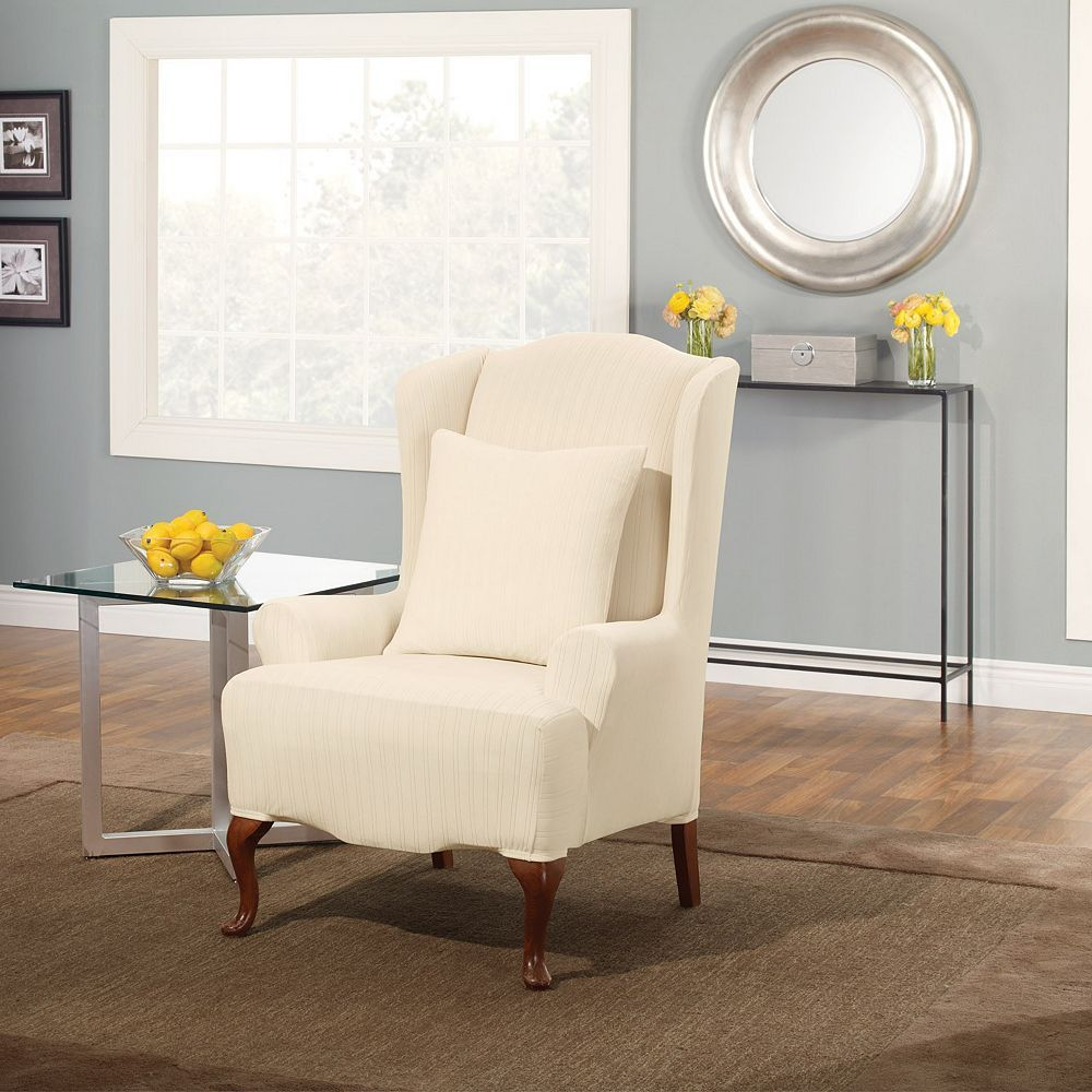Sure Fit Stretch PinStriped Wing Chair Slipcover, Beig
