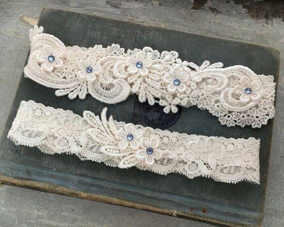 Lace Wedding Garter Set, Something Blue Garter Set, Beaded Lace ...