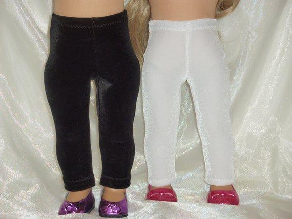 18 Inch Doll Black or White Velvet Spandex Leggings, 18 Doll Clothes, AG Doll Clothes, Girl Doll Cl #18inchdollsandclothes