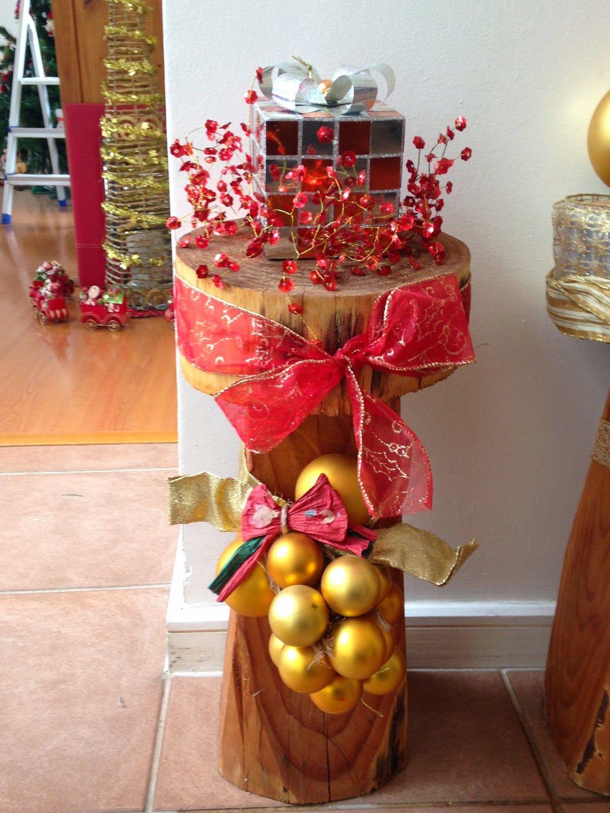 Diy decorando troncos navide os tronco navide o troncos y decorar tu casa - Adornos de navidad hechos en casa ...