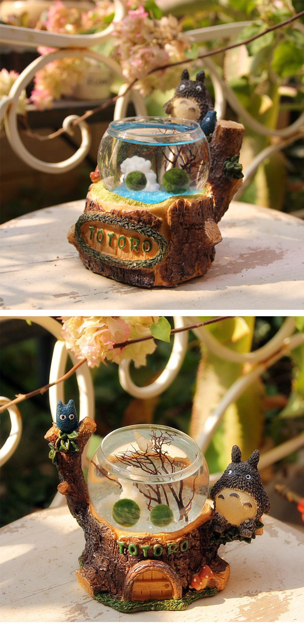 Totoro marimo terrarium with led light marimo and totoro