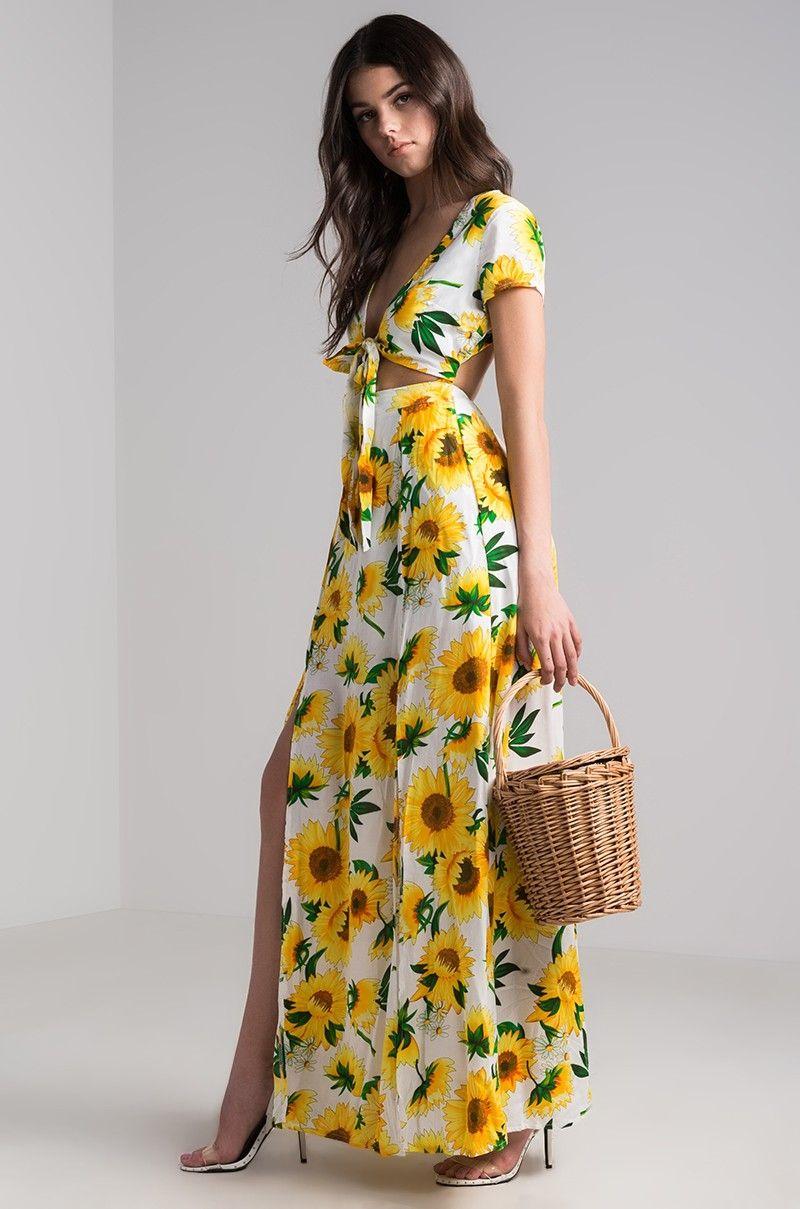 decb4fb84b7 AKIRA Short Sleeve Tie Front Open Back Long Slit Sunflower Printed Floral  Maxi Dress in Sunflower
