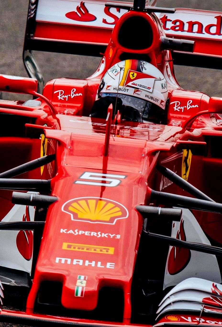 Ferrari SF70H   2017:Twitter:@ScuderiaFerrari :#Seb5 Passing #Kimi7 #
