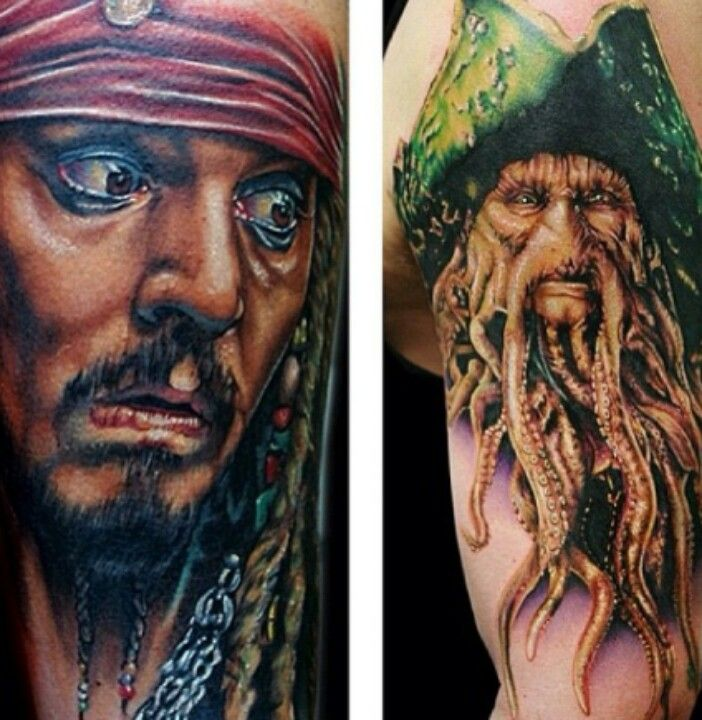 Captain jack sparrow captain davy jones tattoos for Captain jack sparrow tattoo