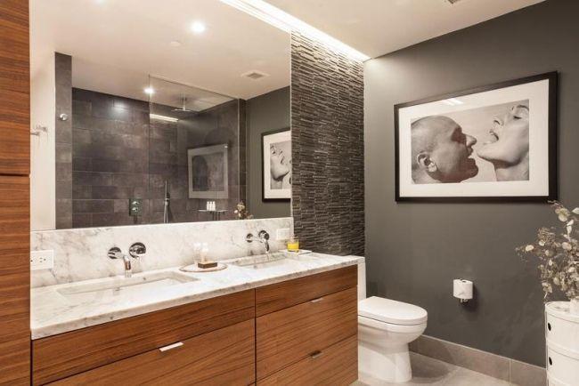 moderne wohnung badewanne holzschrank marmor arbeitsplatte Tank