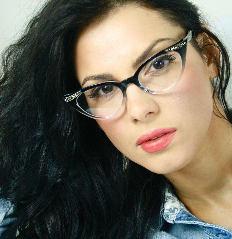 50's Vintage Clear Lens Black Frame Cat Eye Women Sexy Eyeglasses Glasses Stones
