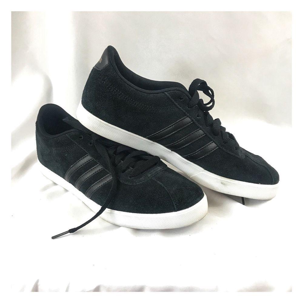 adidas neo courtset le dimensioni 8 nero indossato scarpe da ginnastica atletica volta
