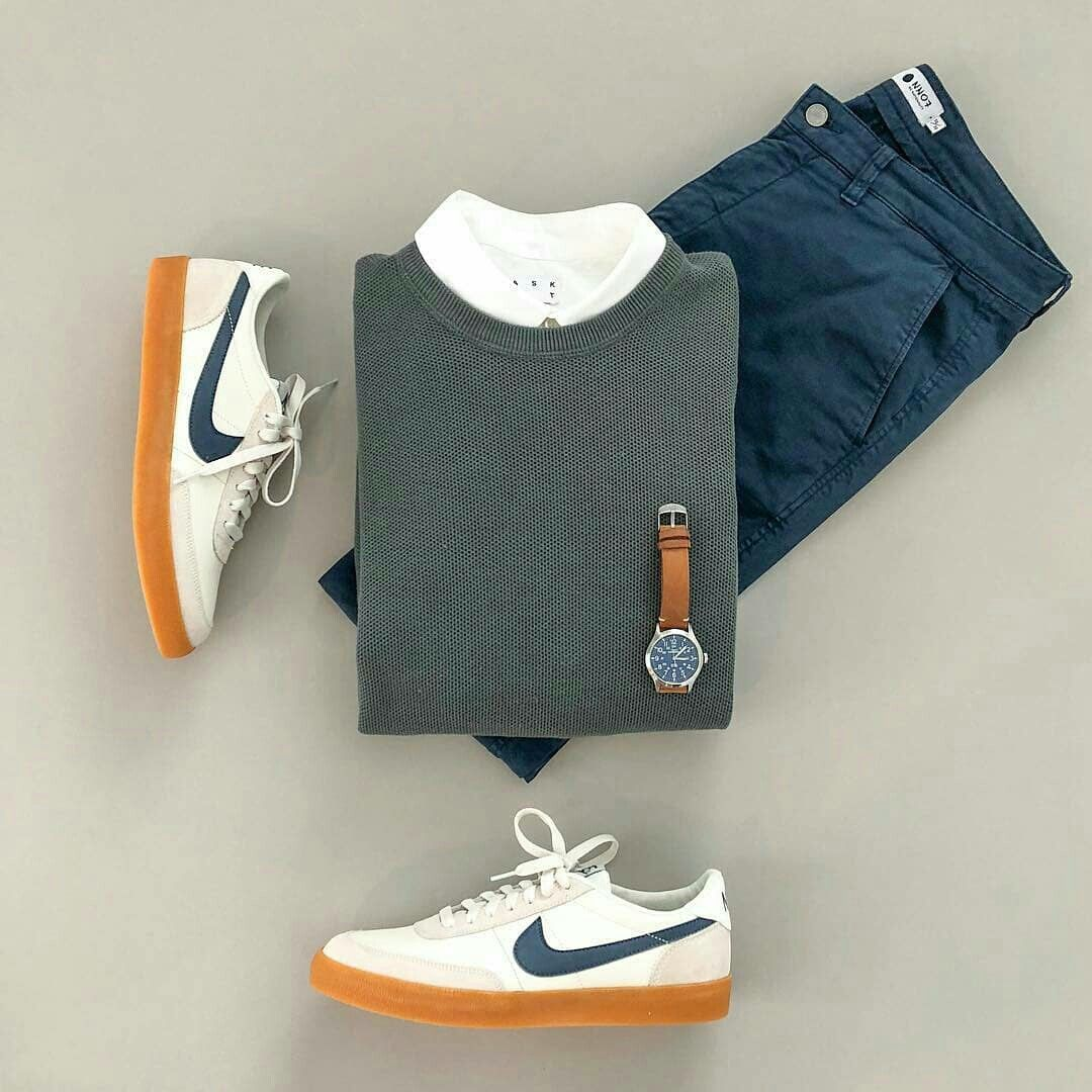 Sweater and nike sneakers are a classic! .. .. . . . Men's Style ideas | Fashion ideas for Men | Men's Streetstyle | Outfit Grids for Men | What to wear to office | How to dress up for office #outfitgrid