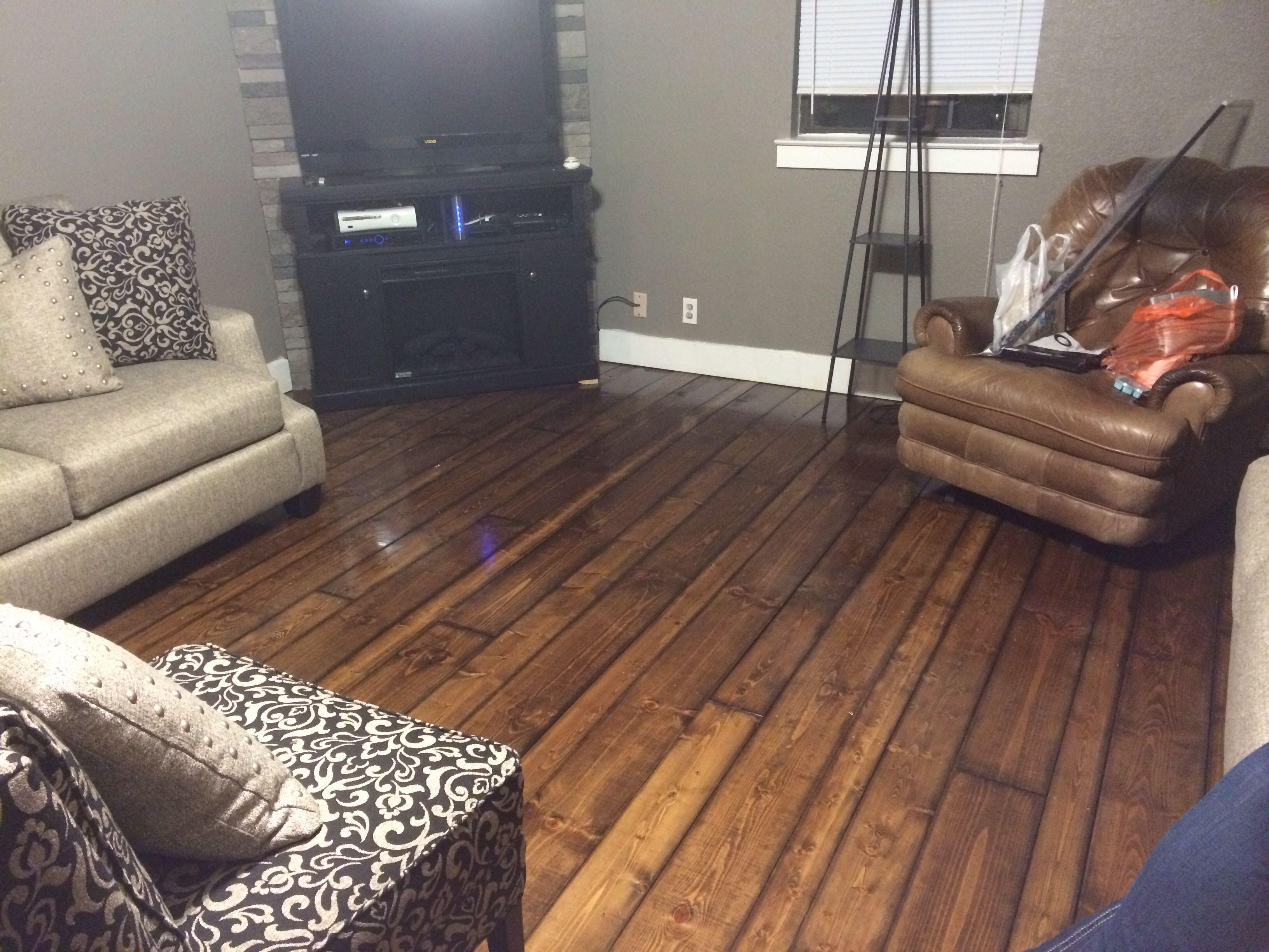 Cost Effective Flooring my new hardwood floors. diy: sand & stain 2x4, 2x6, & 2x8 yellow