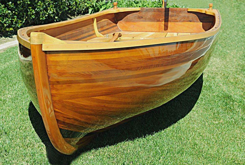 Cedar Rowboat Dingy 9.87' Wood Strip Built Gloss Finish ...
