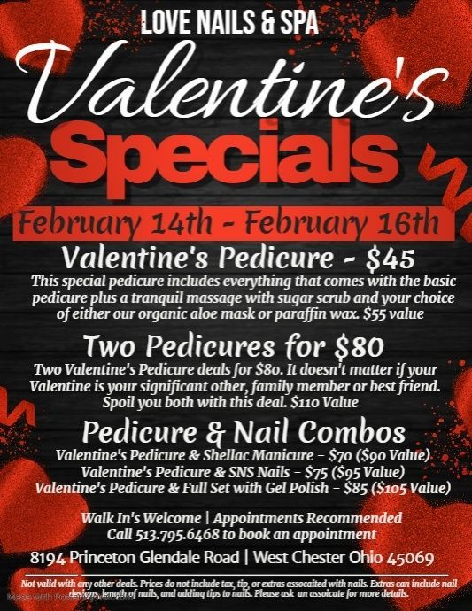 Wishing all of you a beautiful Valentines Day Come visit Love Nails  Spa to enjoy the best Valentine Specials feb Happy Valentines Day 2020