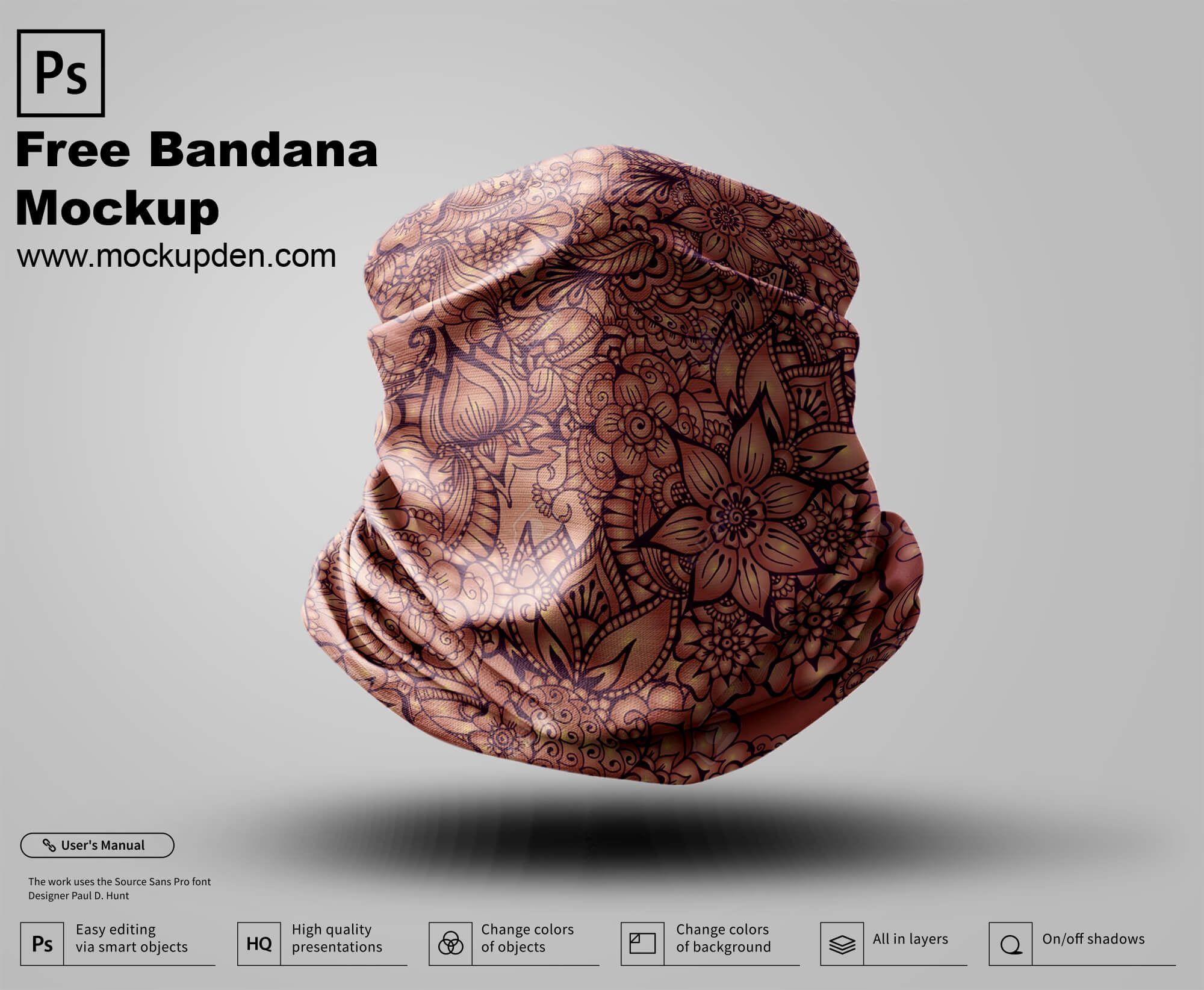 Free Bandana Mockup Psd Template In 2021 Mockup Psd Mockup Psd Templates