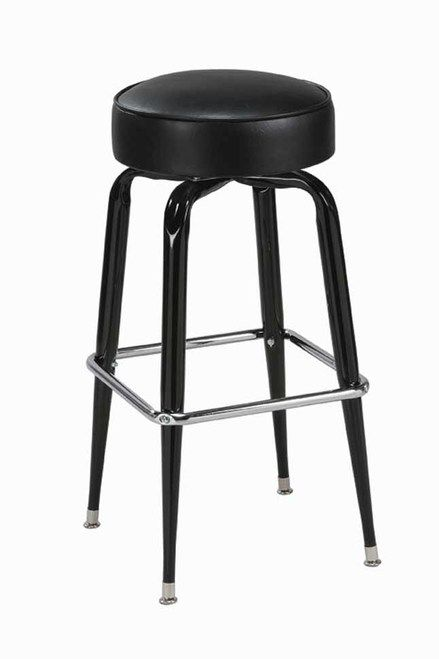 """Square bar stool base with 14-16"""" round seats. Vinyl and fabric color selection available."""