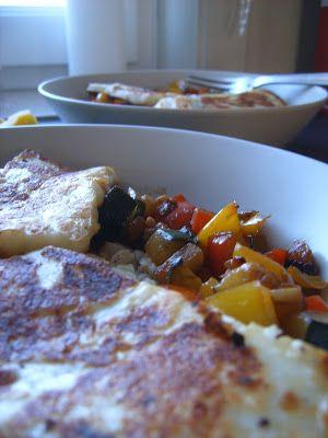 Blé aux légumes du sud et Halloumi grillé.