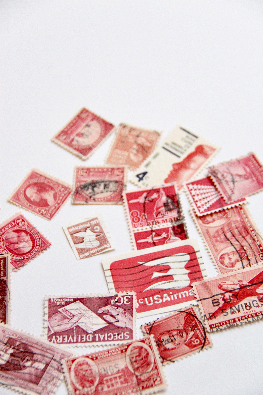 20 Red-Themed Vintage Used Stamps | Vintage Postage | Postage Stamps ...