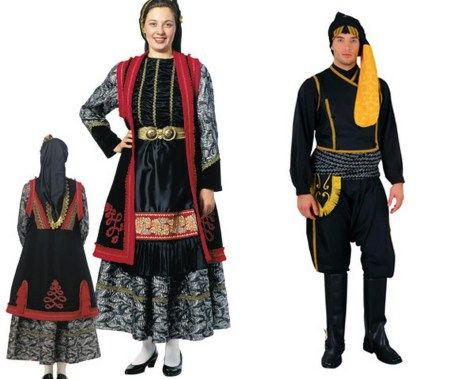 Greek traditional costumes: a woman's costume from Epirus and a man's from Pontus