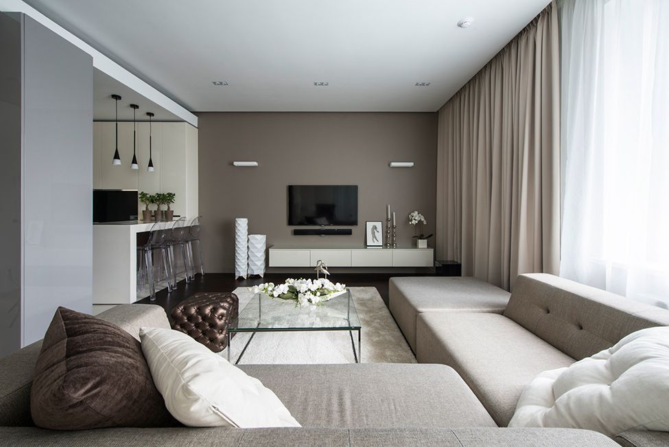 Amazing Minimalist Apartment Design With White Brown Living Room Sofa Pillow Table Window Curtain And Hardwood Floor