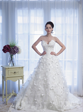 Sweetheart Dropped Waist Ballerina Ballgown With Petal Strewed Skirt And Train Anovia Bridal Couture Rental