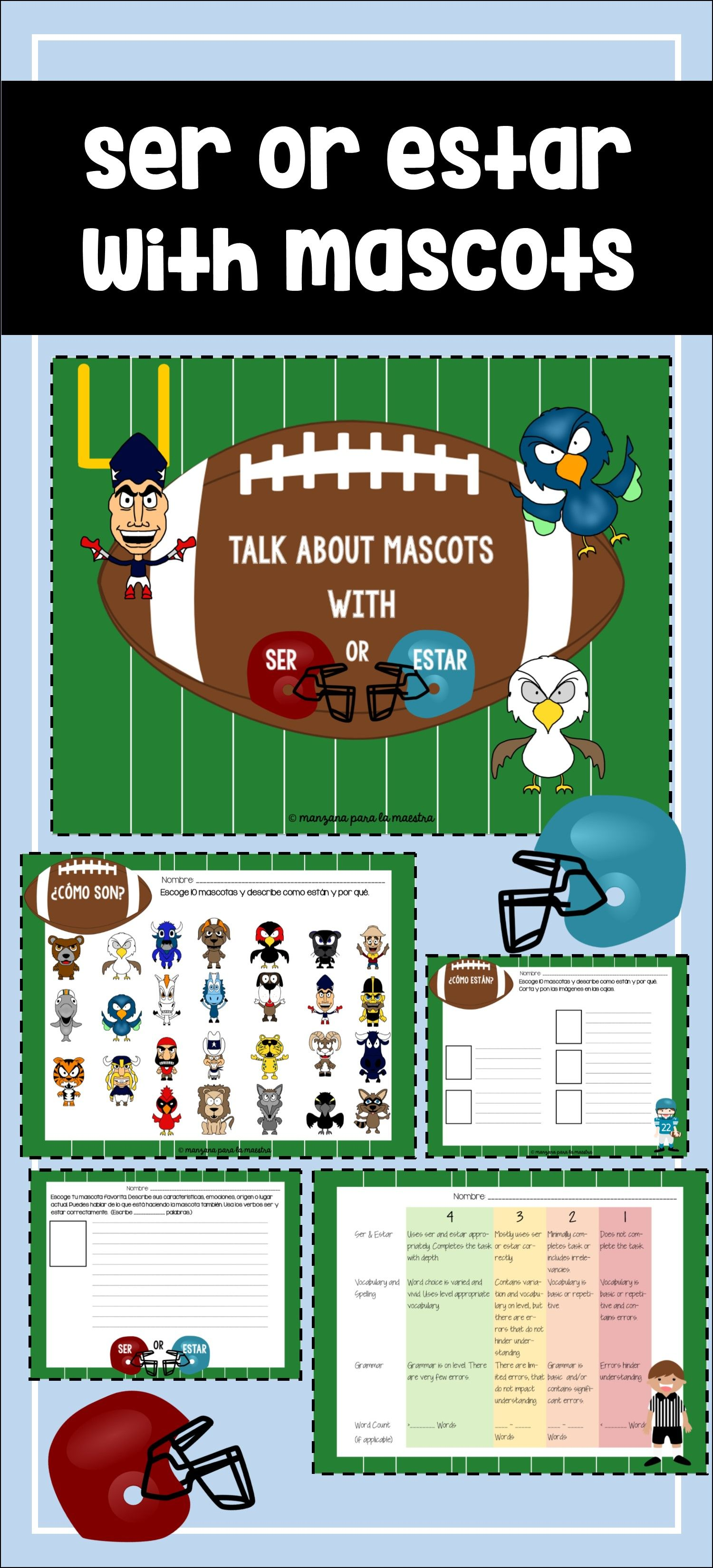 Ser Vs Estar Spanish I Spanish Ii Football Mascot Descriptions Great To Engage Your Sports Fan Spanish Teaching Resources Spanish Lessons High School Spanish [ 3300 x 1500 Pixel ]