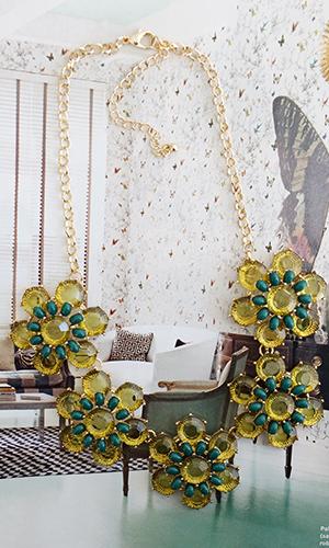 Translucent Emerald Floral Necklace