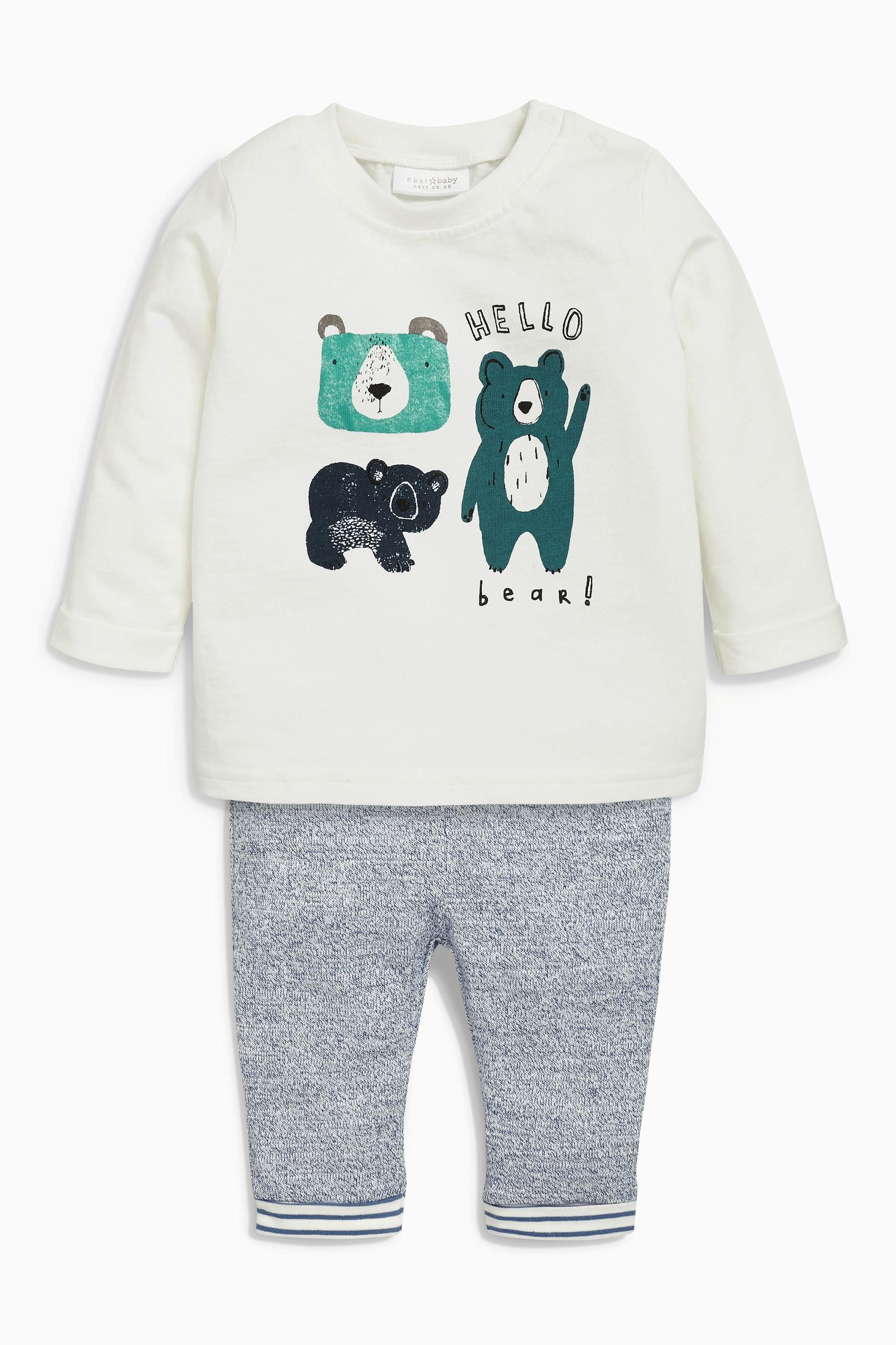 85d3782b8 Buy White/Blue Bear Two Piece Jersey Set (0mths-2yrs) from the Next ...