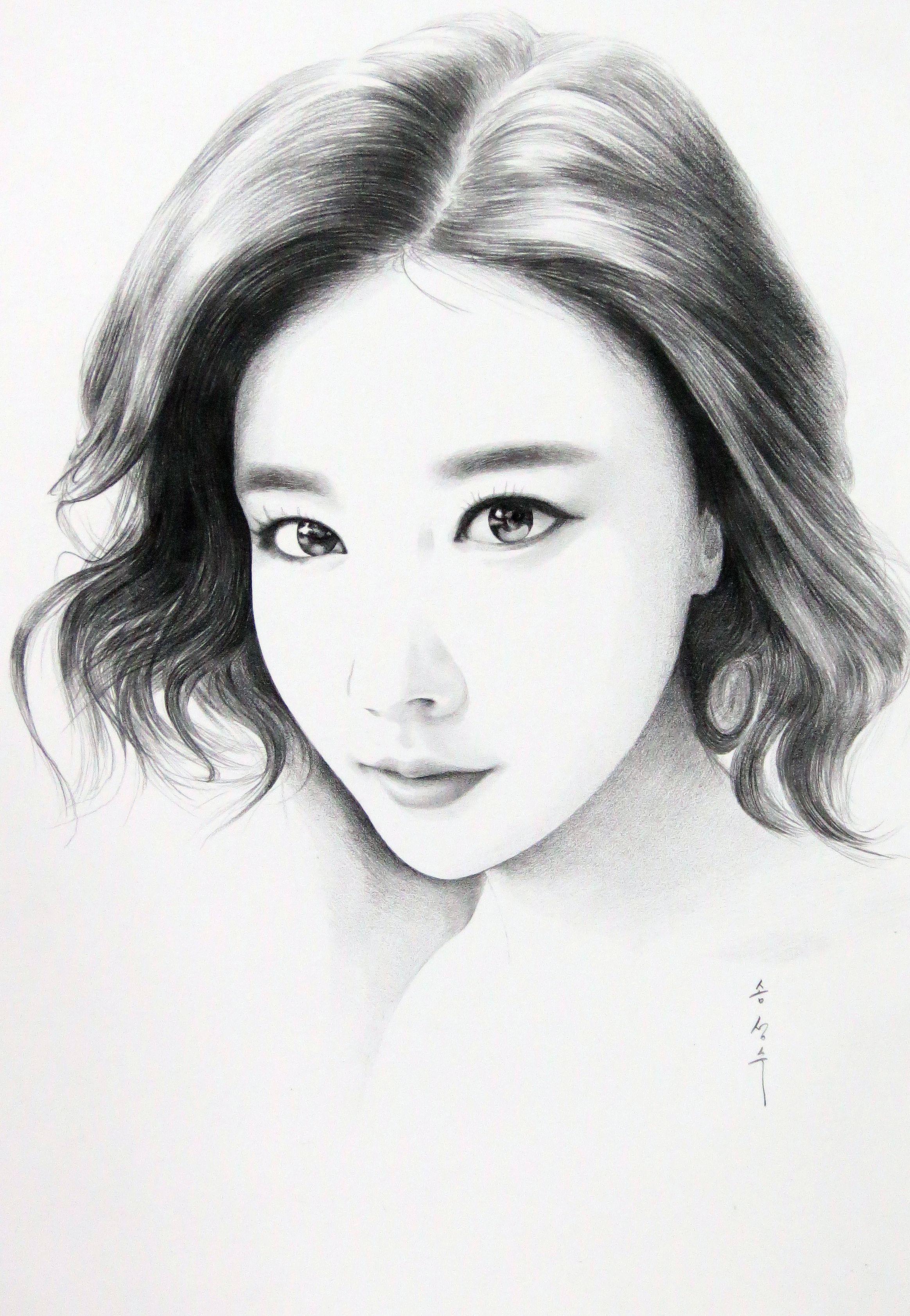 Картинки корейских девушек карандашом