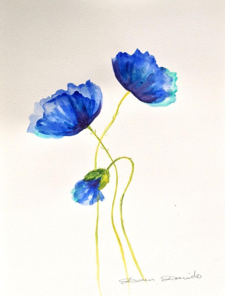 aquarelle originale dam domido pavots bleus poppy fleurs. Black Bedroom Furniture Sets. Home Design Ideas