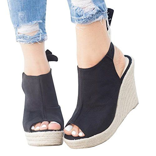98dcab44ea4 Seraih Womens Summer Wedge Sandals Espadrille Open Toe Heels Strappy Tie  Knot Closure Shoes