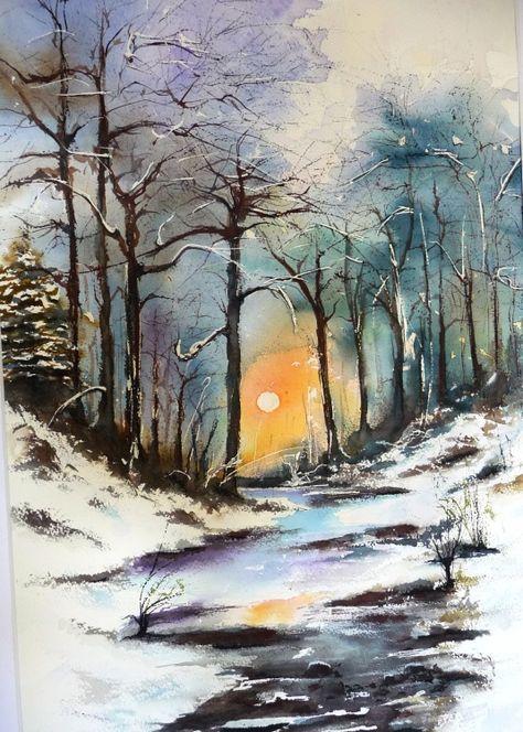 Paysage hivernal encadr peinture 50x70 cm 2013 par pierre patenet art figuratif papier - Paysage enneige dessin ...