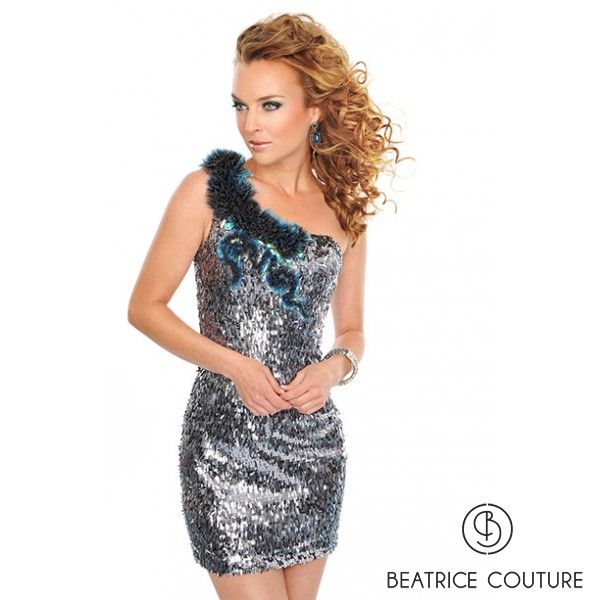 This striking short metallic sequined dress has tufts of Illusion lining the one-shouldered strap.