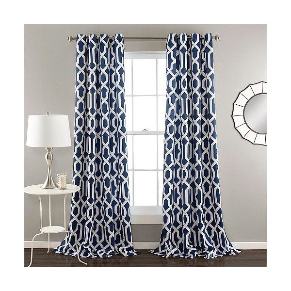 Edward Curtain Panels Room Darkening 60 Liked On Polyvore Best Blue Patterned Curtains
