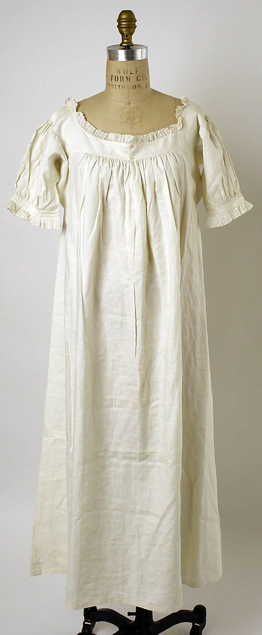 Nightgown    Date: 1830s Culture: American or European Medium: linen Dimensions: [no dimensions available] Credit Line: Gift of Mrs. Albert S. Morrow, 1937 Accession Number: C.I.37.45.73