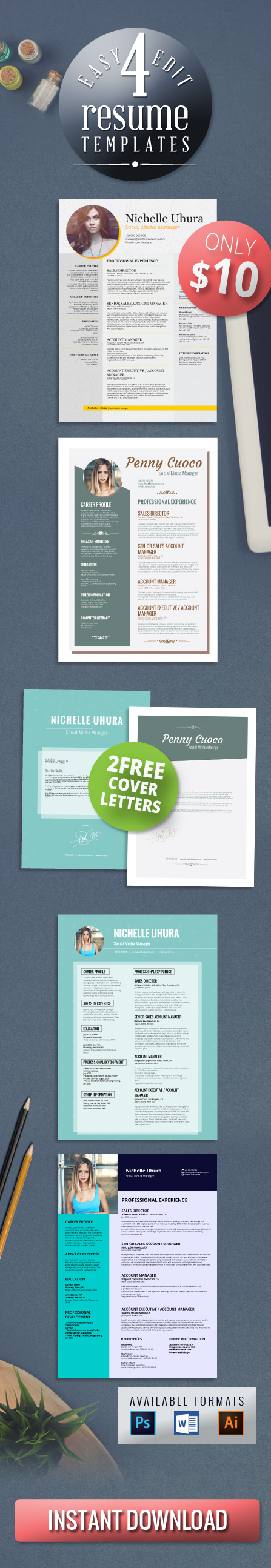 4 resume templates bundle   2 free cover letter templates