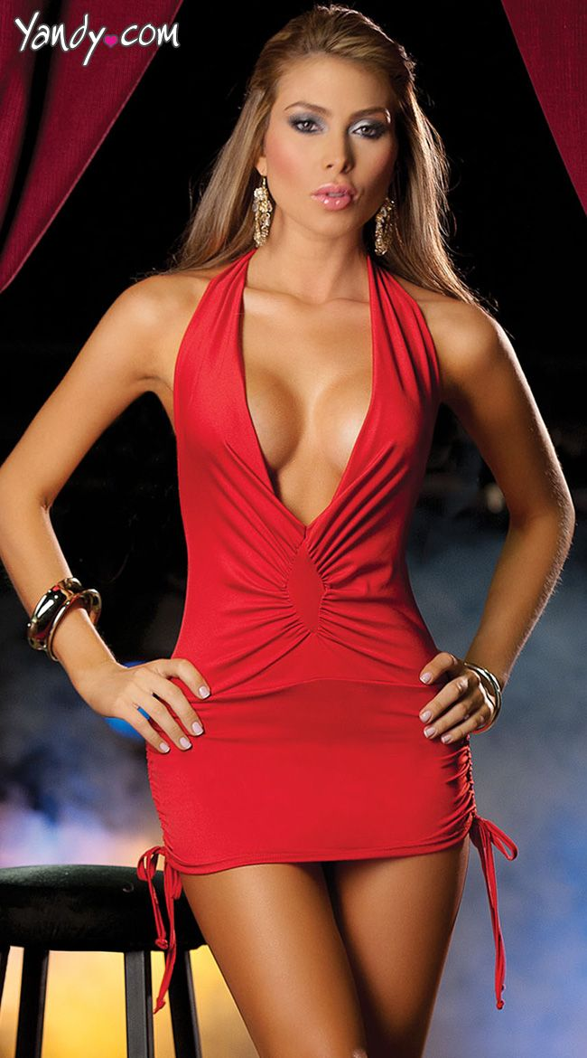 d79508d14b Low Cut Mini Dress with Cinched Ties on Sides