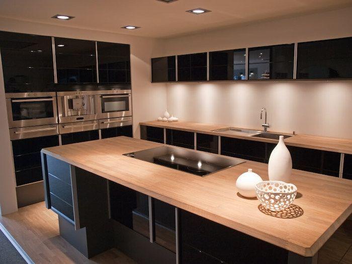 but meuble cuisine noire et bois ilot central en bois Cuisines en