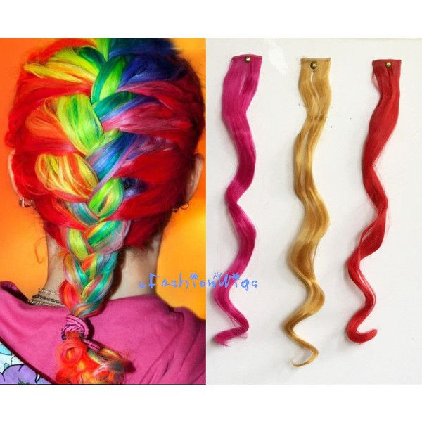 Rainbow Mermaid Hair Extensions One Clip Colorful Hair Extension One