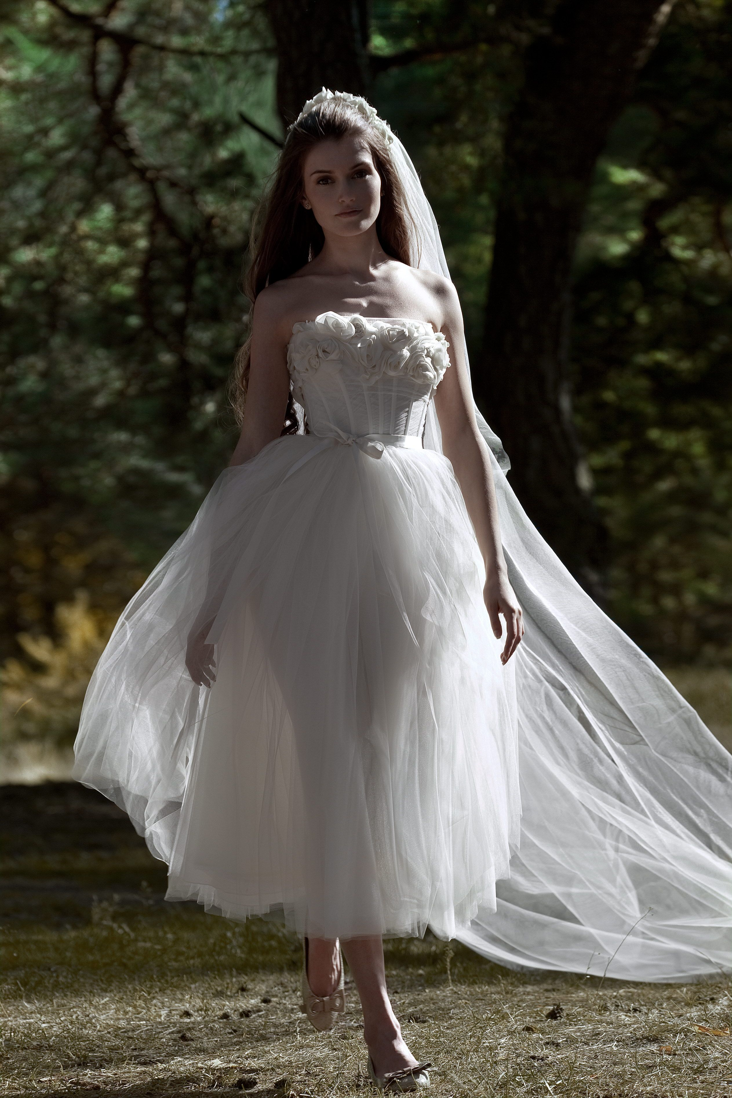 Beautiful See Thru Tea Length Wedding Dress With Long Cathedral Veil Perfect For