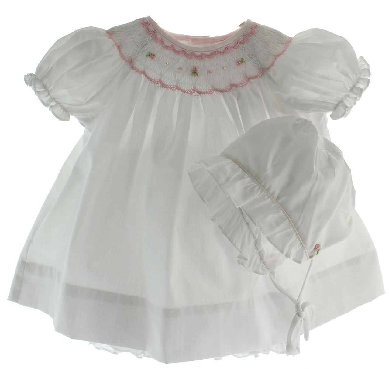 Size 0, size small by Will Beth White Smocked Baby Bonnet