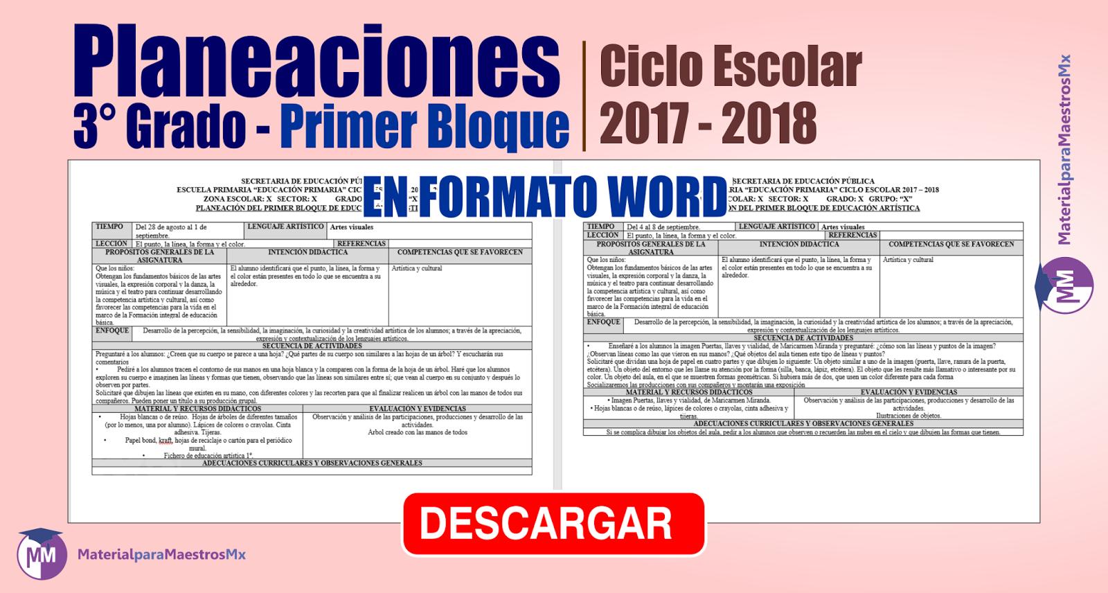Planeaciones tercer grado - primer bloque ciclo escolar 2017-2018 | PREGUNTALE AL PROFESOR
