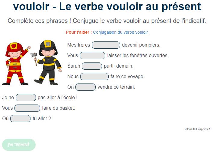 Exercice De Conjugaison Le Verbe Vouloir Au Present Exercice De Francais Cm1 Exercices Conjugaison Cours De Langue