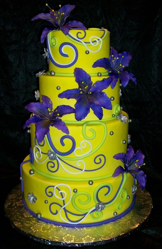 blue, purple and neon green wedding cakes | Neon yellow cake ...