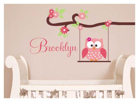 Owl Decal Brooklyn Monogram Childrens Wall Decals Nursery Wall - Custom vinyl decals brooklyn