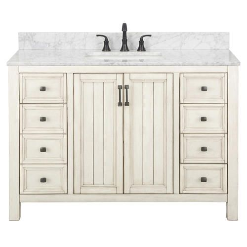 Foremost Hiland 48 W X 21 1 2 D Antique White Vanity Cabinet At Menards